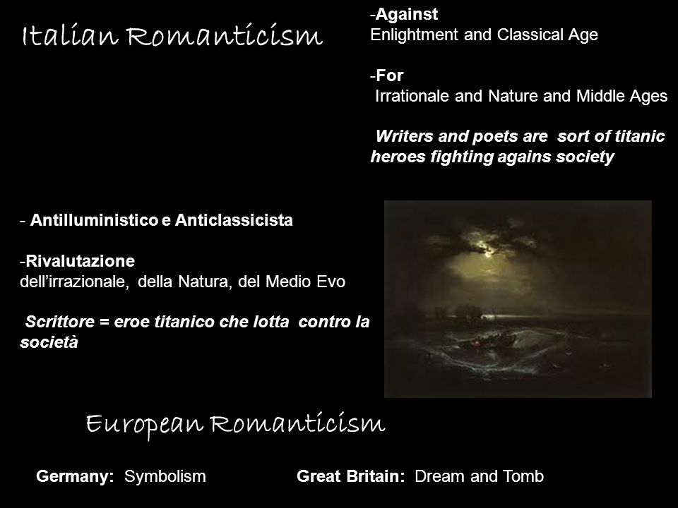 Italian Romanticism European Romanticism Against