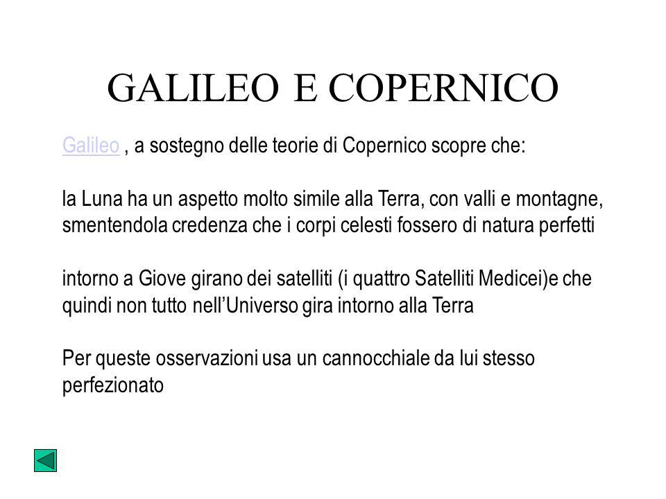 GALILEO E COPERNICO Galileo , a sostegno delle teorie di Copernico scopre che:
