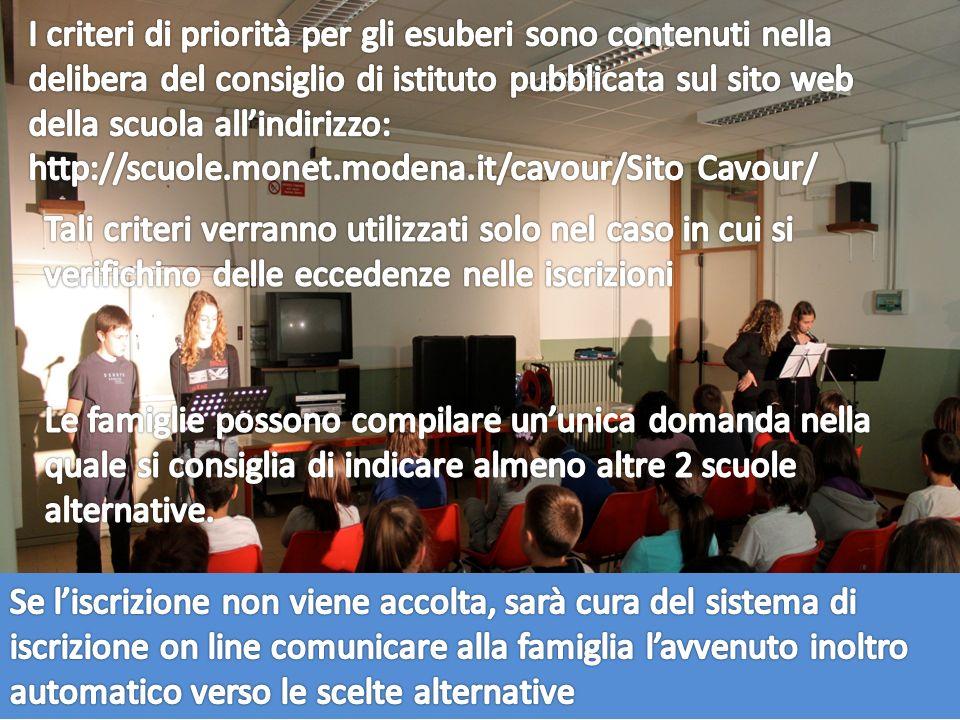 I criteri di priorità per gli esuberi sono contenuti nella delibera del consiglio di istituto pubblicata sul sito web della scuola all'indirizzo: http://scuole.monet.modena.it/cavour/Sito Cavour/
