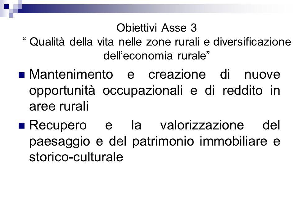 Obiettivi Asse 3 Qualità della vita nelle zone rurali e diversificazione dell'economia rurale