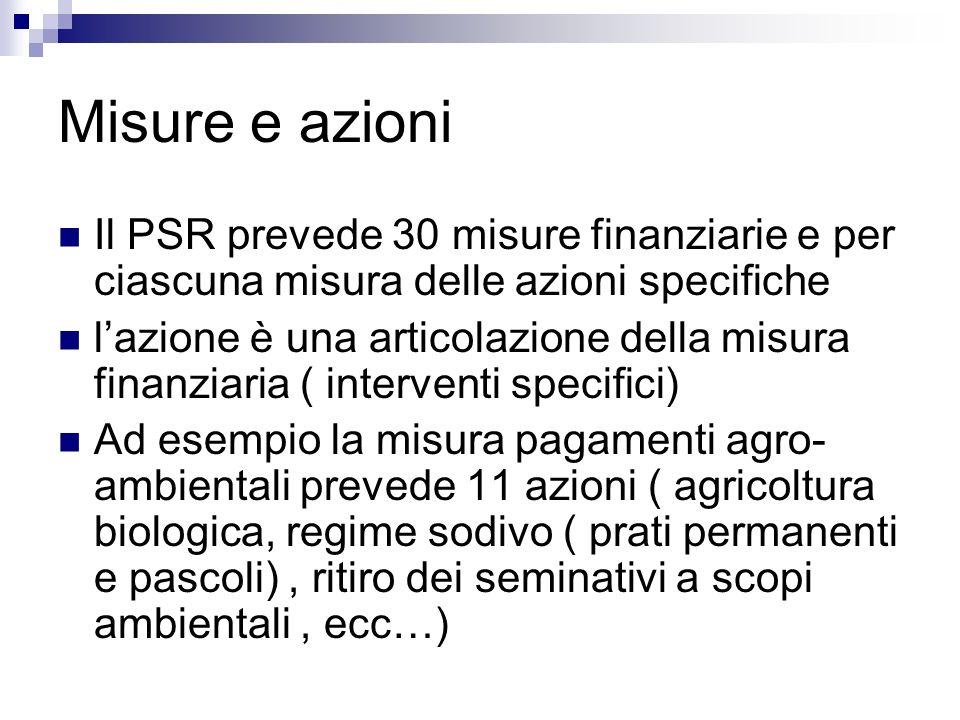 Misure e azioni Il PSR prevede 30 misure finanziarie e per ciascuna misura delle azioni specifiche.