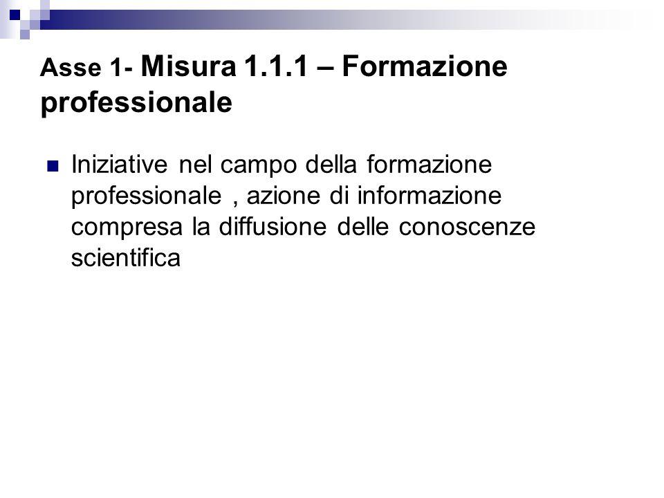 Asse 1- Misura 1.1.1 – Formazione professionale