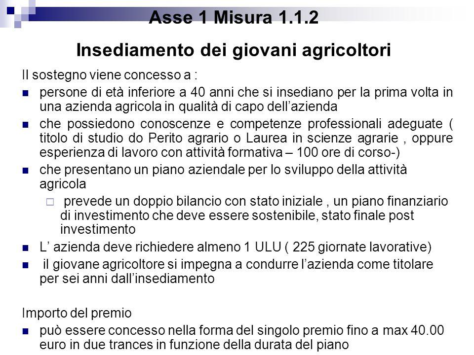 Asse 1 Misura 1.1.2 Insediamento dei giovani agricoltori