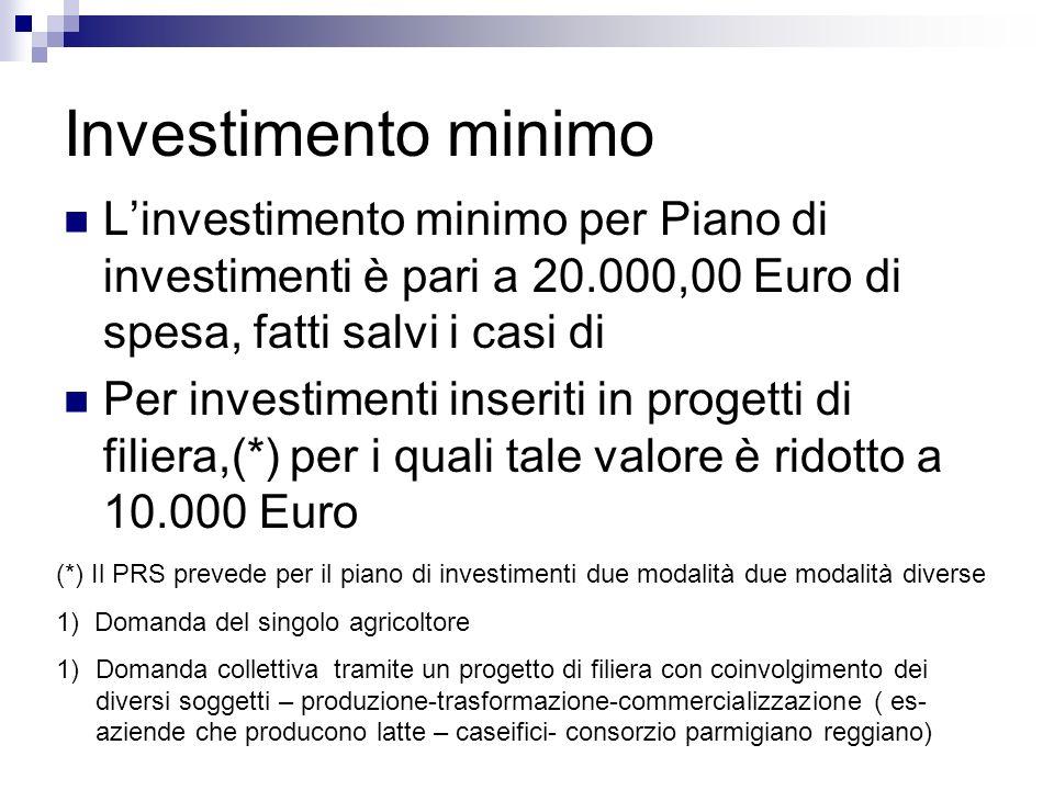 Investimento minimo L'investimento minimo per Piano di investimenti è pari a 20.000,00 Euro di spesa, fatti salvi i casi di.