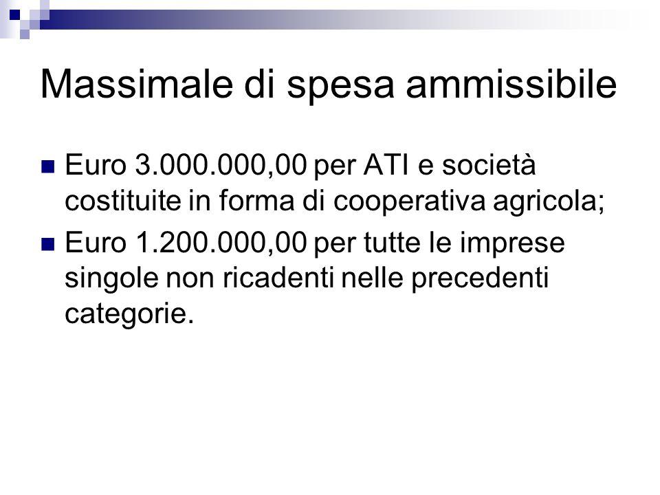 Massimale di spesa ammissibile