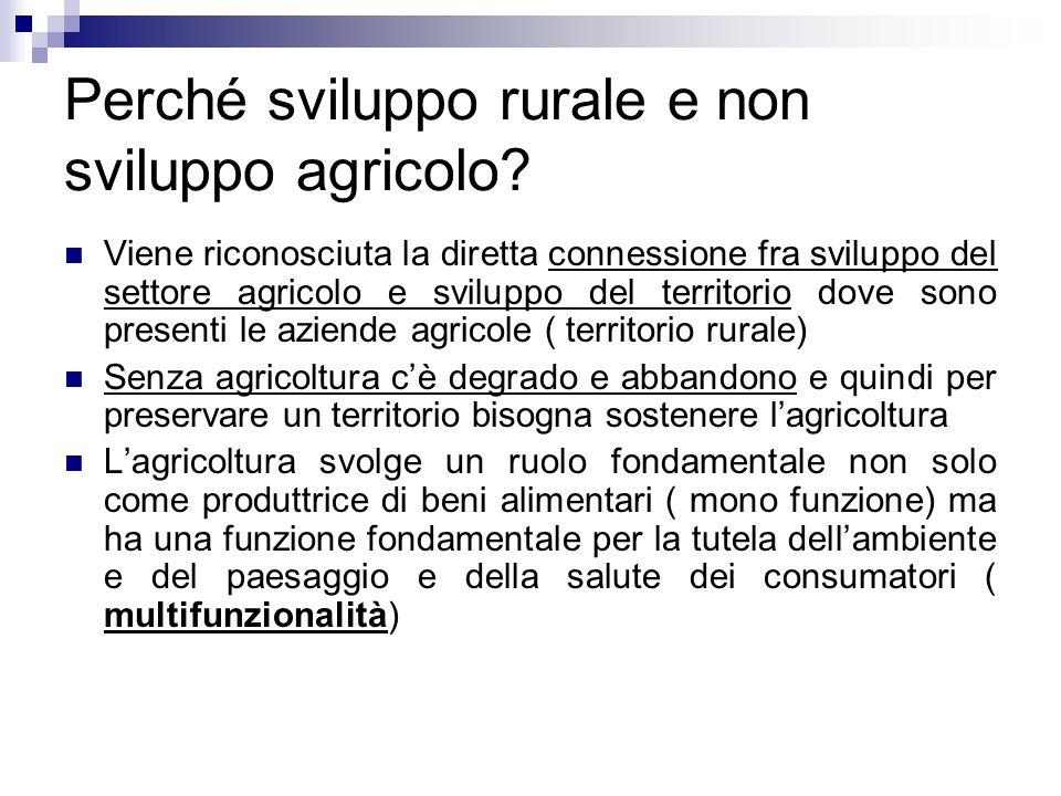 Perché sviluppo rurale e non sviluppo agricolo