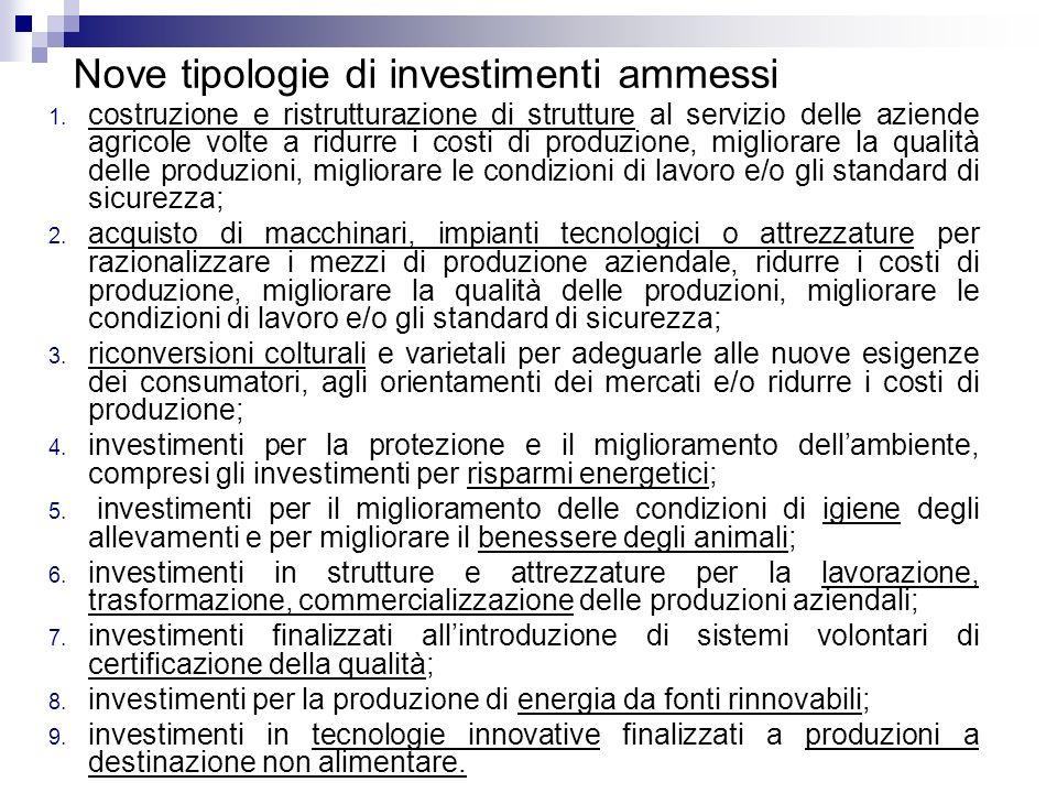 Nove tipologie di investimenti ammessi