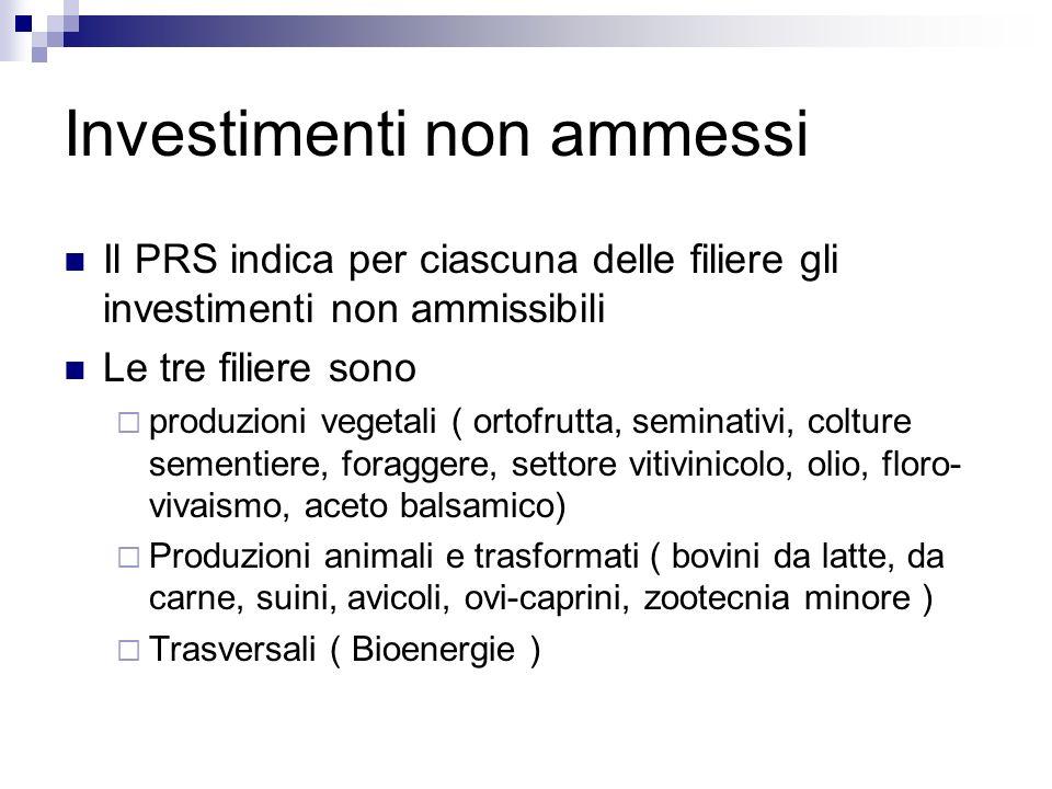 Investimenti non ammessi