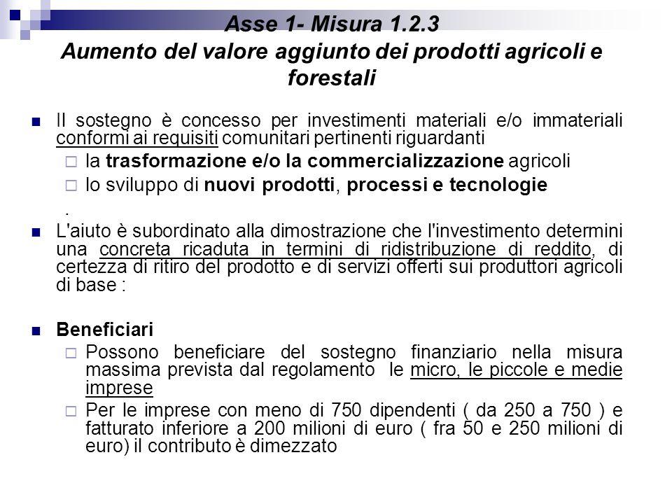 Asse 1- Misura 1.2.3 Aumento del valore aggiunto dei prodotti agricoli e forestali