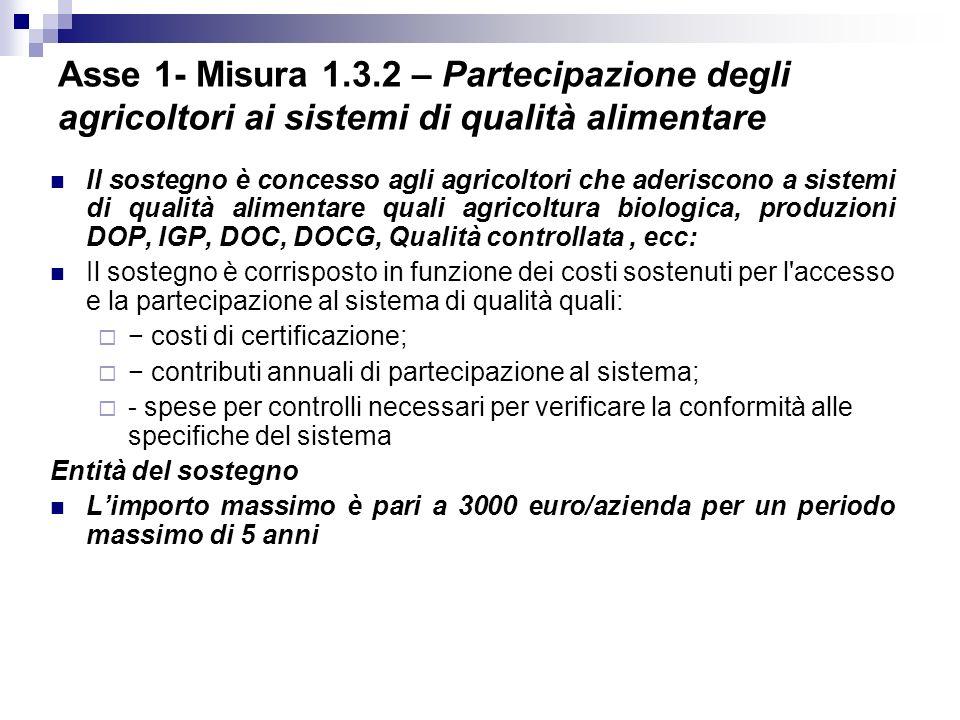 Asse 1- Misura 1.3.2 – Partecipazione degli agricoltori ai sistemi di qualità alimentare