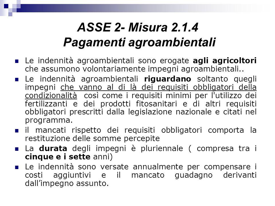 ASSE 2- Misura 2.1.4 Pagamenti agroambientali
