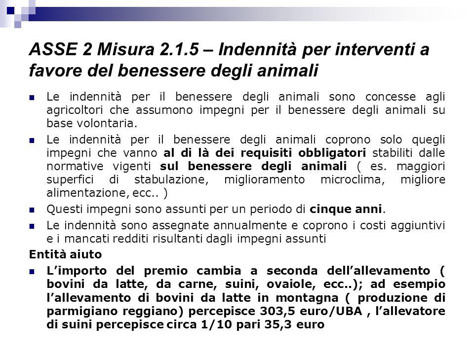 ASSE 2 Misura 2.1.5 – Indennità per interventi a favore del benessere degli animali