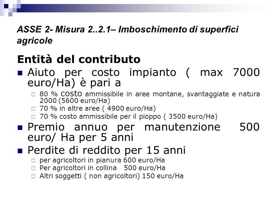 ASSE 2- Misura 2..2.1– Imboschimento di superfici agricole