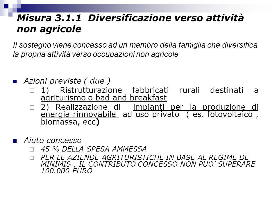 Misura 3.1.1 Diversificazione verso attività non agricole