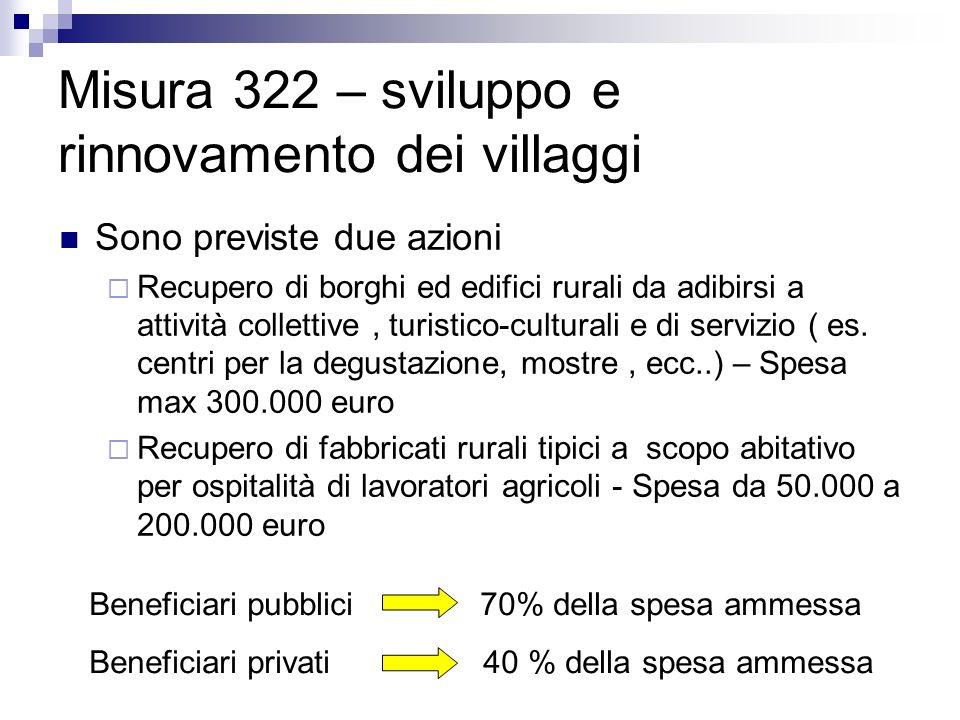 Misura 322 – sviluppo e rinnovamento dei villaggi