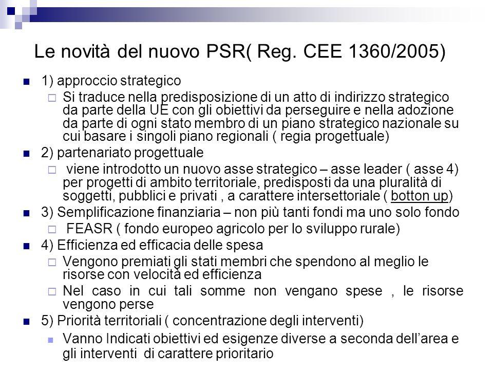 Le novità del nuovo PSR( Reg. CEE 1360/2005)