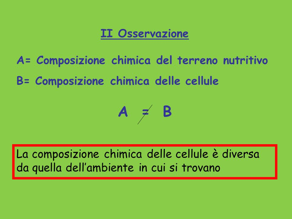 A = B II Osservazione A= Composizione chimica del terreno nutritivo