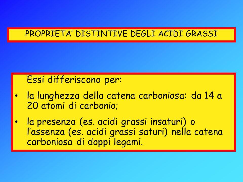 PROPRIETA' DISTINTIVE DEGLI ACIDI GRASSI