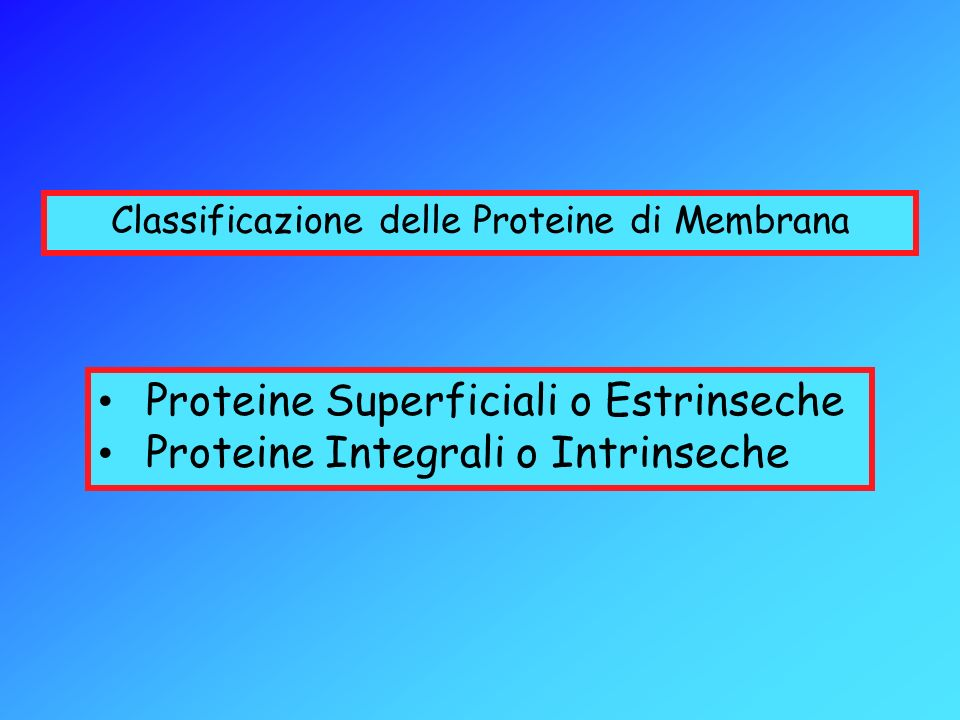 Classificazione delle Proteine di Membrana