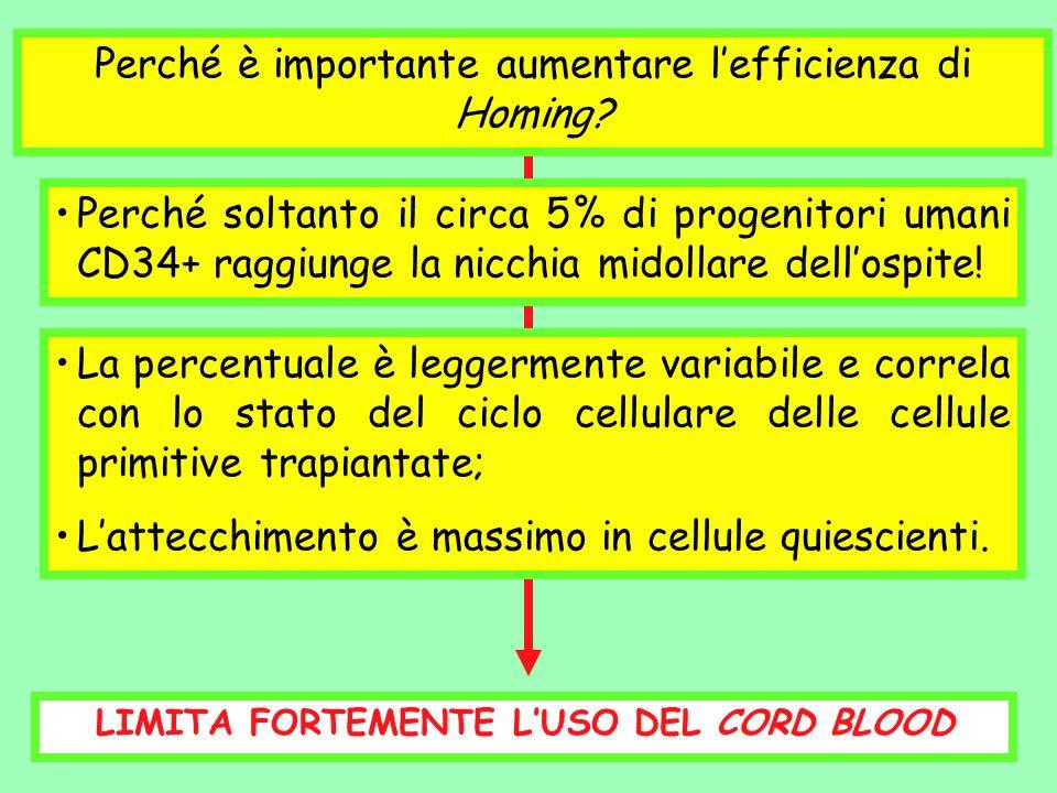 LIMITA FORTEMENTE L'USO DEL CORD BLOOD