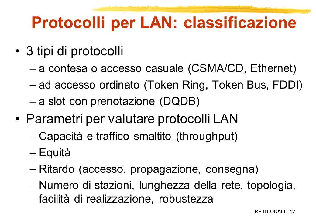 Protocolli per LAN: classificazione