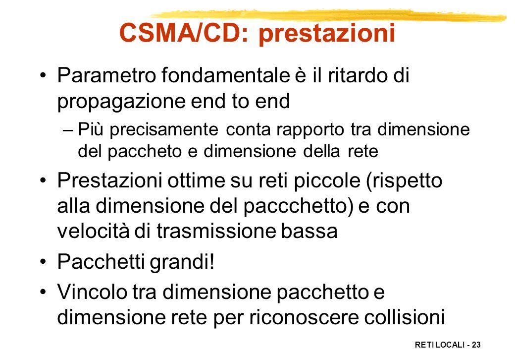 CSMA/CD: prestazioni Parametro fondamentale è il ritardo di propagazione end to end.