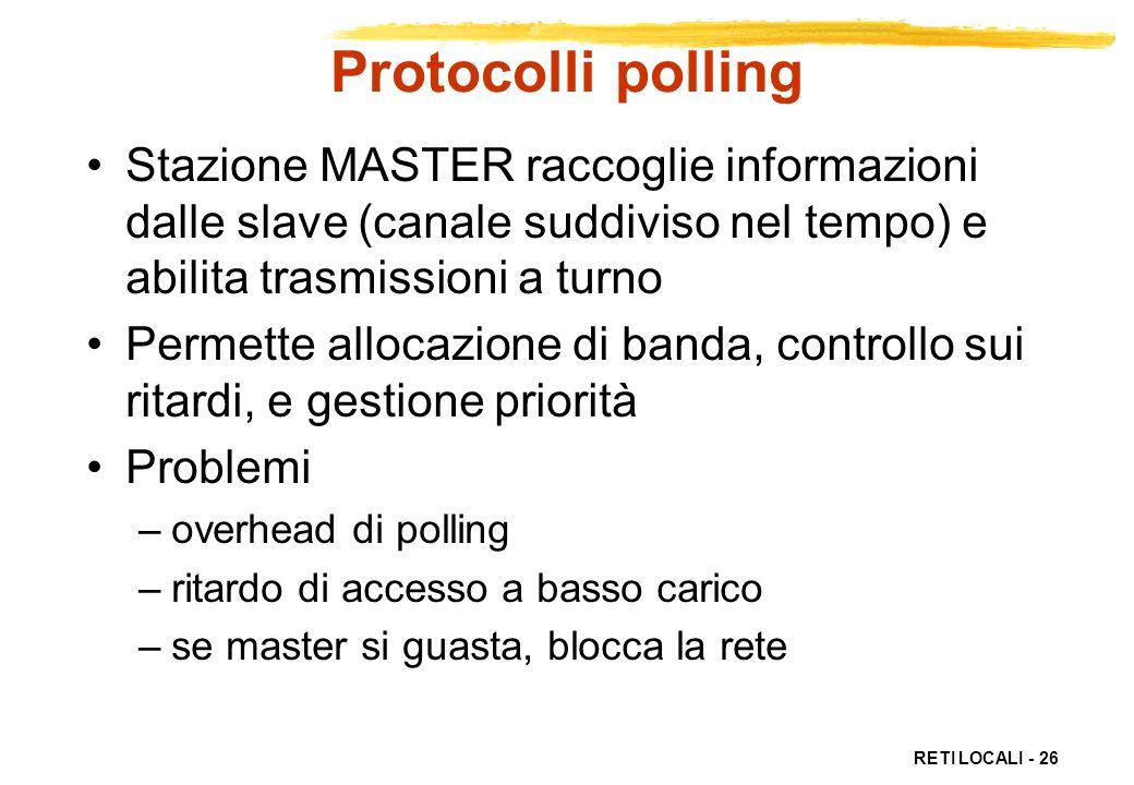 Protocolli polling Stazione MASTER raccoglie informazioni dalle slave (canale suddiviso nel tempo) e abilita trasmissioni a turno.