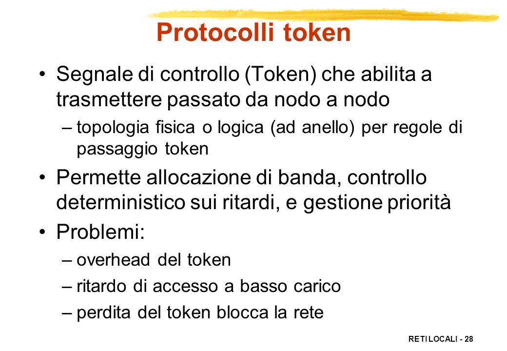 Protocolli token Segnale di controllo (Token) che abilita a trasmettere passato da nodo a nodo.