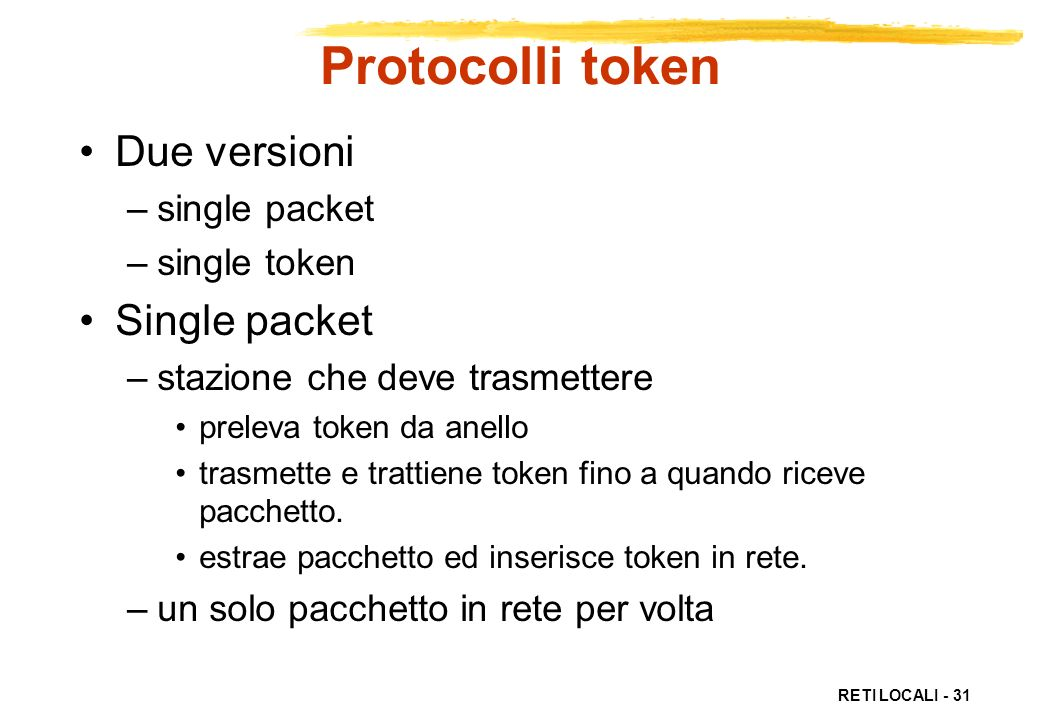 Protocolli token Due versioni Single packet single packet single token
