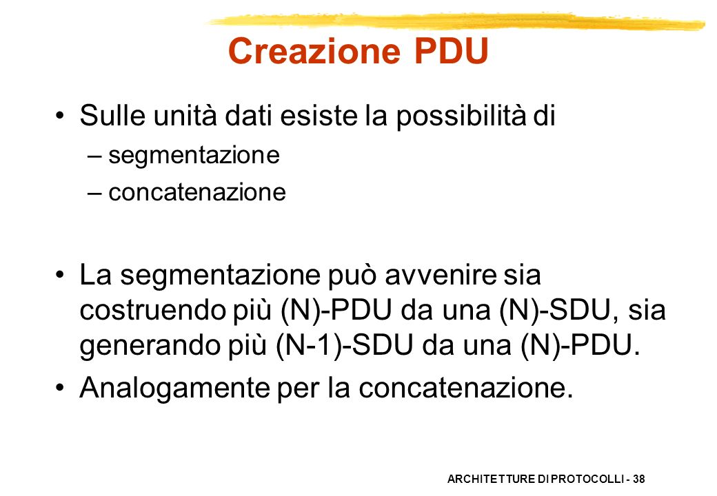 Creazione PDU Sulle unità dati esiste la possibilità di
