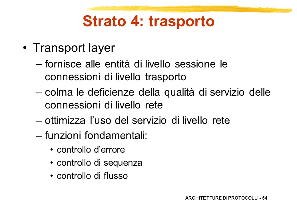 Strato 4: trasporto Transport layer