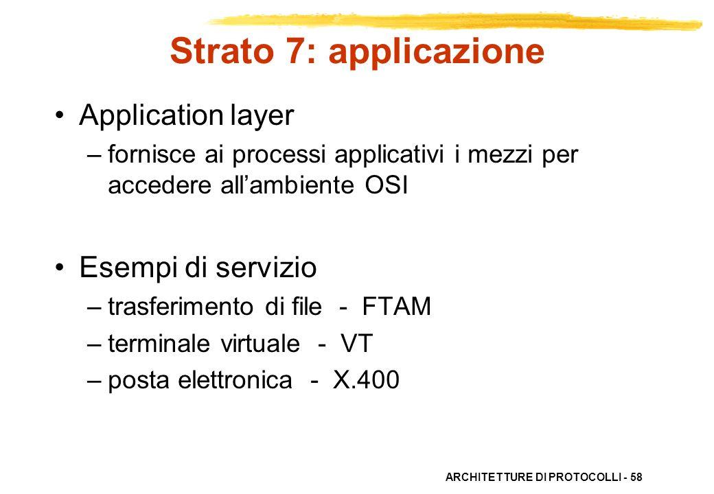 Strato 7: applicazione Application layer Esempi di servizio
