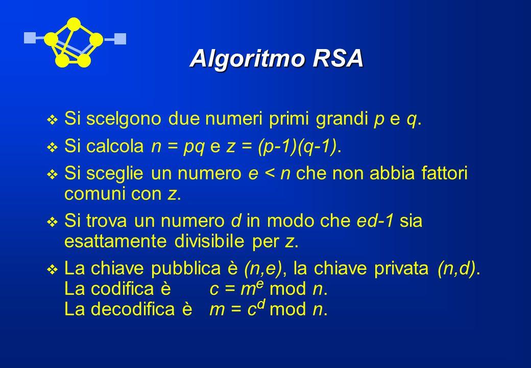 Algoritmo RSA Si scelgono due numeri primi grandi p e q.