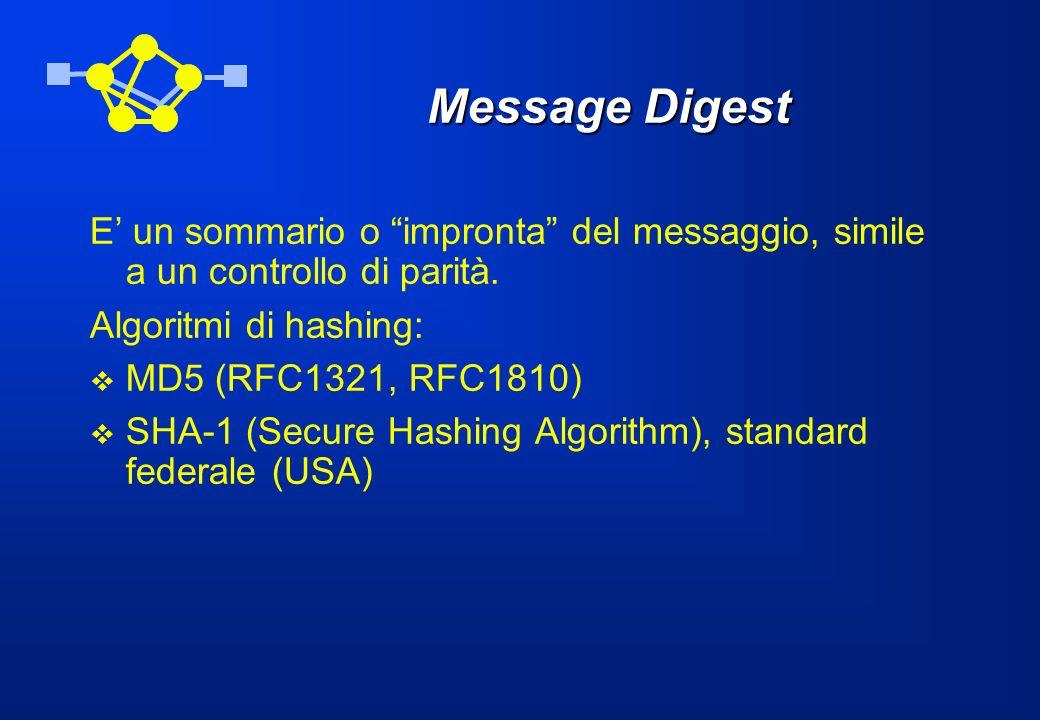 Message Digest E' un sommario o impronta del messaggio, simile a un controllo di parità. Algoritmi di hashing:
