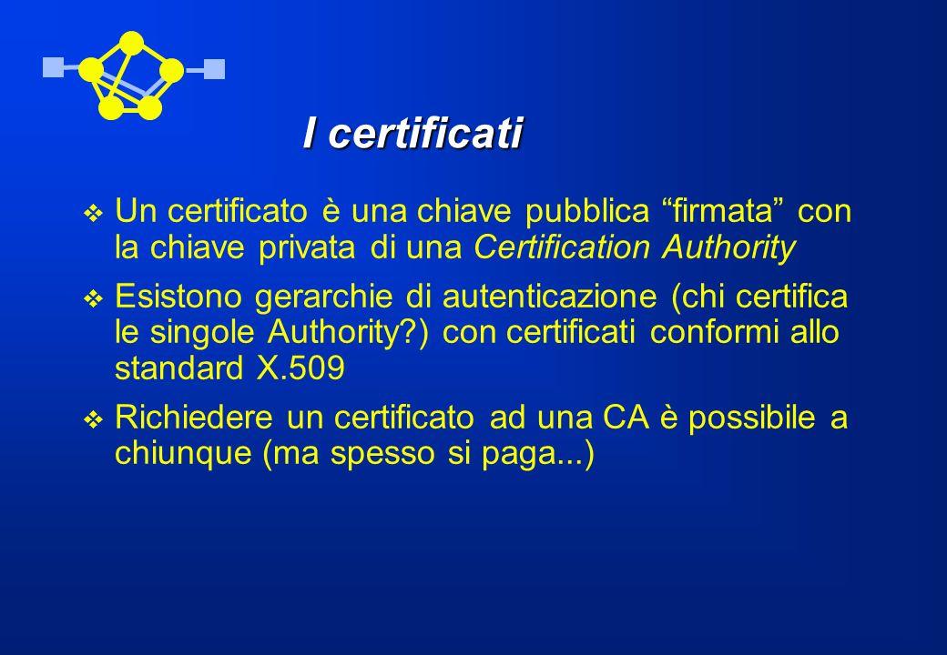 I certificati Un certificato è una chiave pubblica firmata con la chiave privata di una Certification Authority.