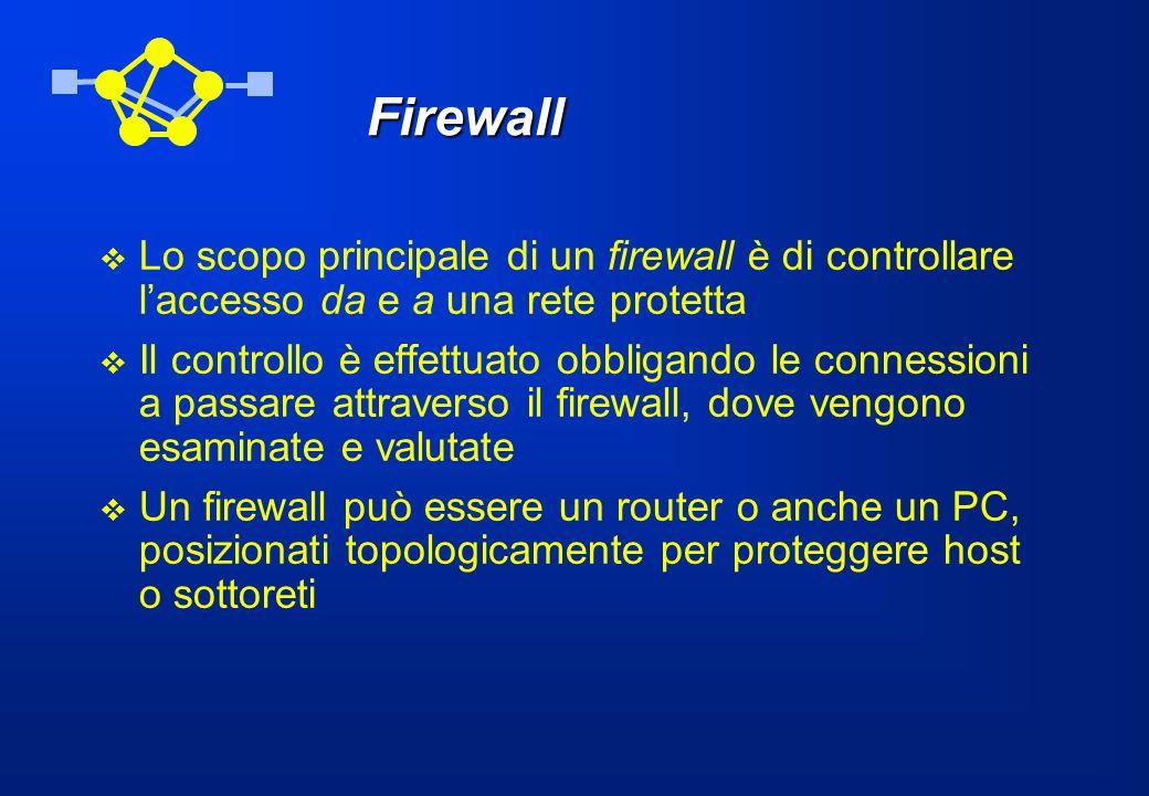 Firewall Lo scopo principale di un firewall è di controllare l'accesso da e a una rete protetta.
