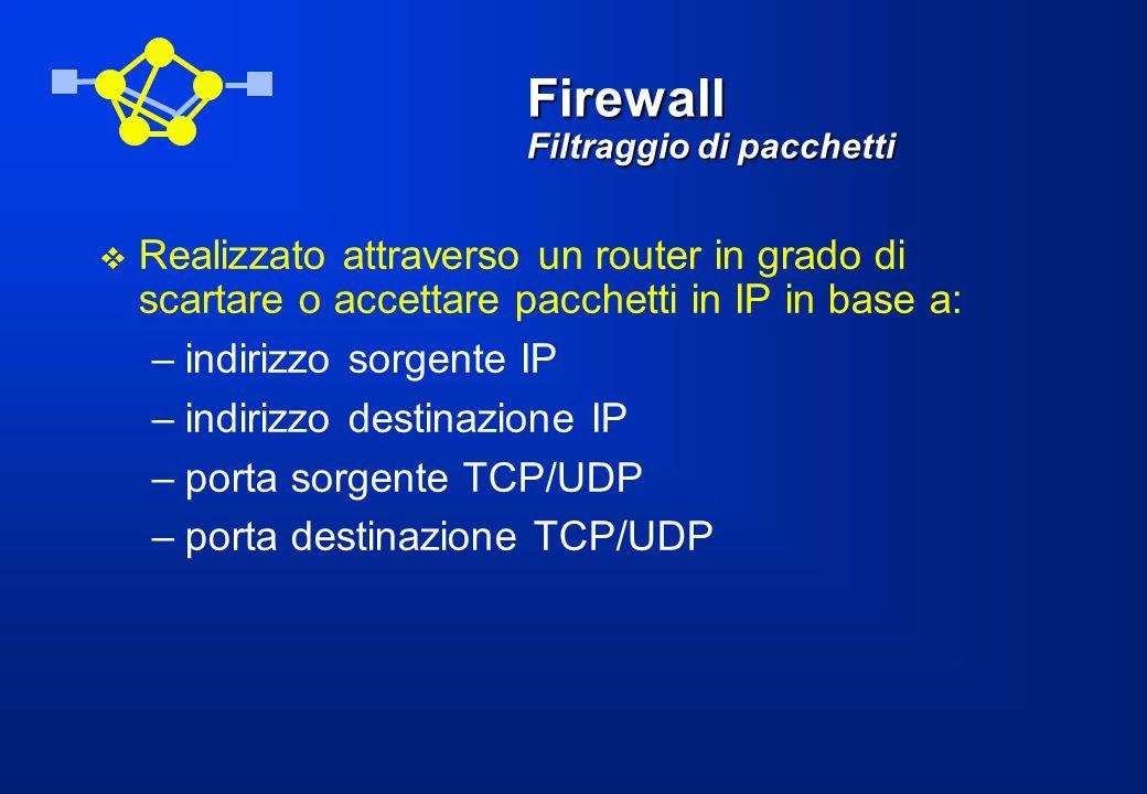 Firewall Filtraggio di pacchetti