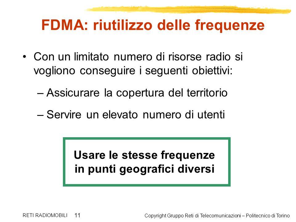 FDMA: riutilizzo delle frequenze