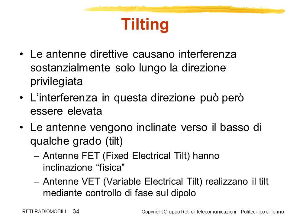 Tilting Le antenne direttive causano interferenza sostanzialmente solo lungo la direzione privilegiata.