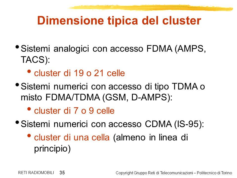 Dimensione tipica del cluster