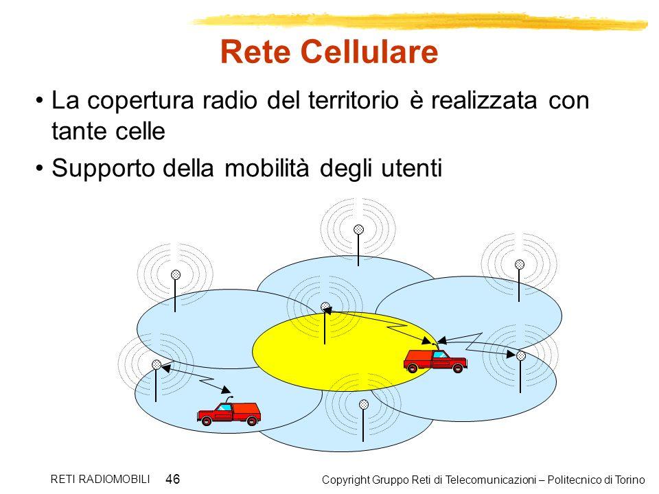 Rete Cellulare La copertura radio del territorio è realizzata con tante celle. Supporto della mobilità degli utenti.