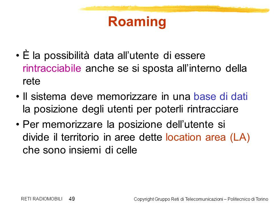 Roaming È la possibilità data all'utente di essere rintracciabile anche se si sposta all'interno della rete.