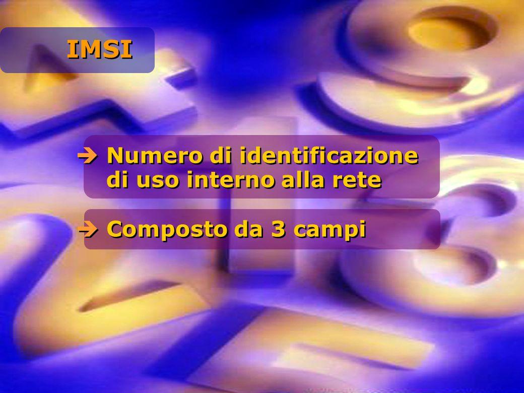 IMSI Numero di identificazione di uso interno alla rete