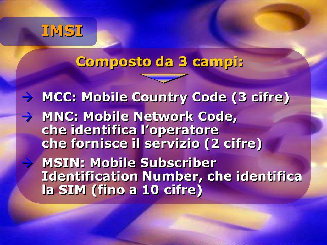 IMSI Composto da 3 campi: MCC: Mobile Country Code (3 cifre)