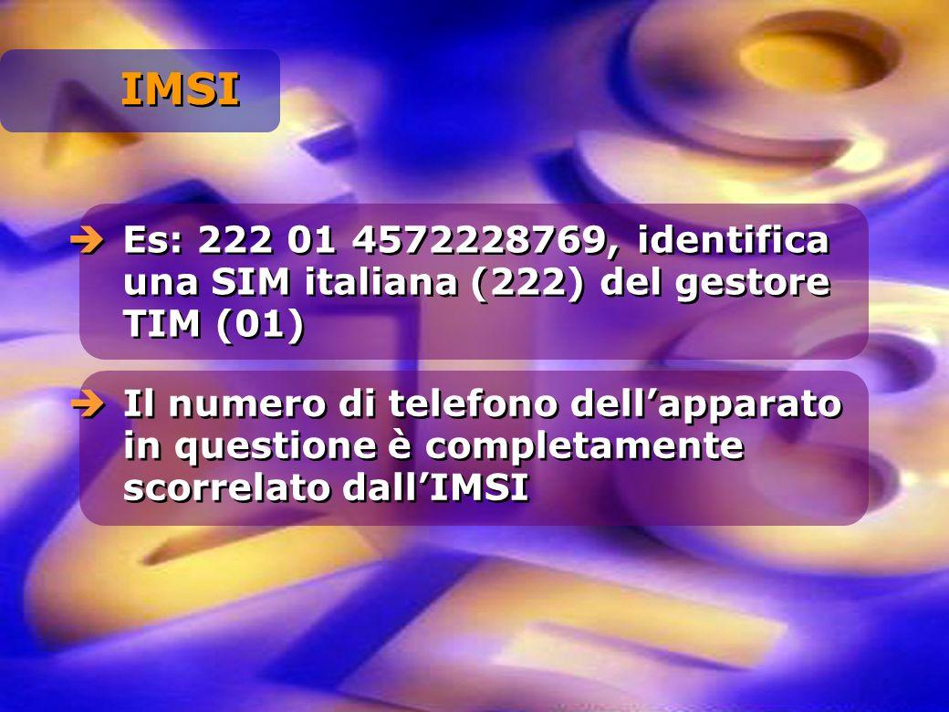 IMSI Es: 222 01 4572228769, identifica una SIM italiana (222) del gestore TIM (01)
