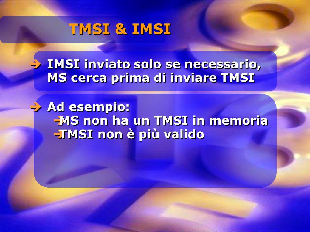 TMSI & IMSI IMSI inviato solo se necessario, MS cerca prima di inviare TMSI. Ad esempio: MS non ha un TMSI in memoria.