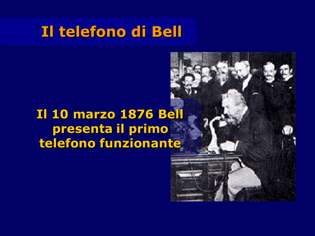 Il telefono di Bell Il 10 marzo 1876 Bell presenta il primo