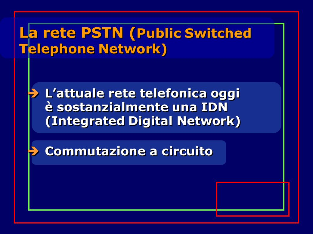 La rete PSTN (Public Switched Telephone Network)