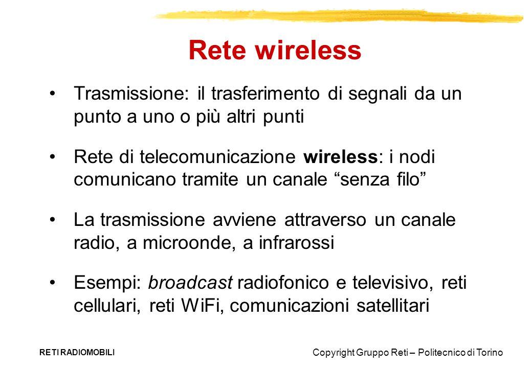 Rete wireless Trasmissione: il trasferimento di segnali da un punto a uno o più altri punti.