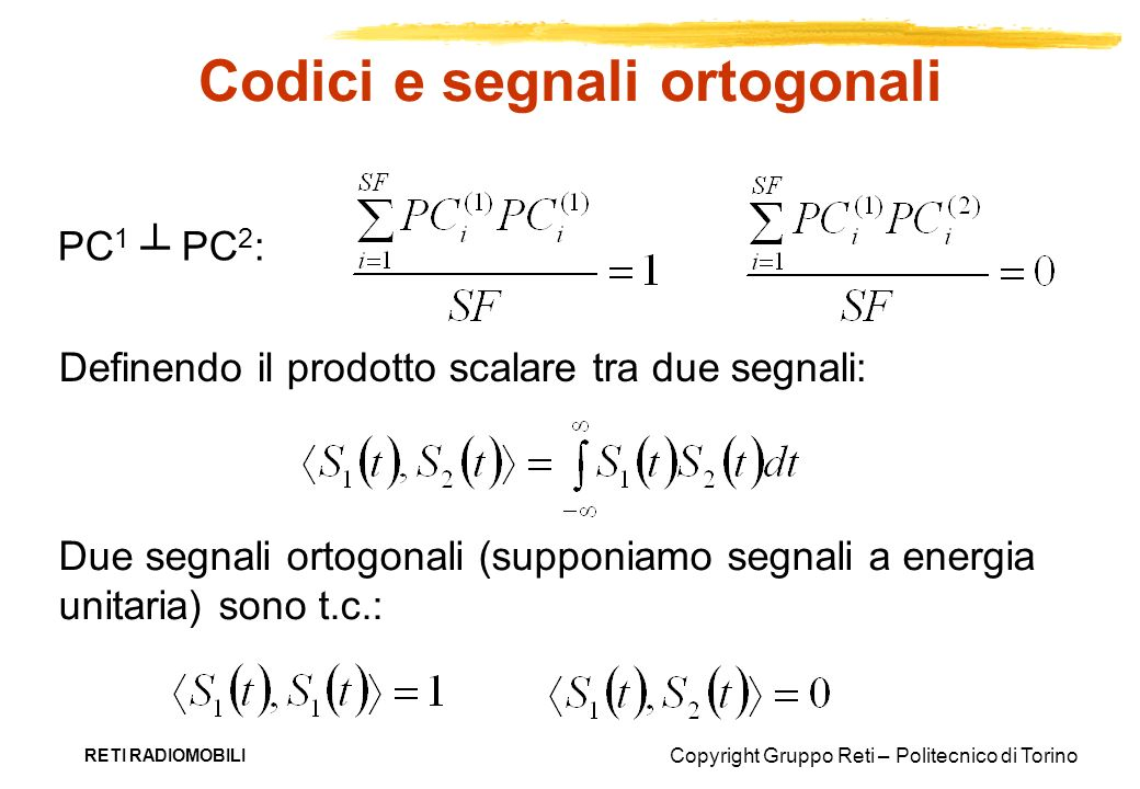 Codici e segnali ortogonali